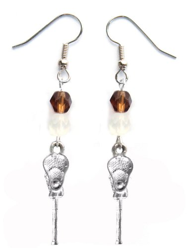 ''Lacrosse Stick & Ball'' Lacrosse Earrings (Team Colors Brown & White) by Edge Sports