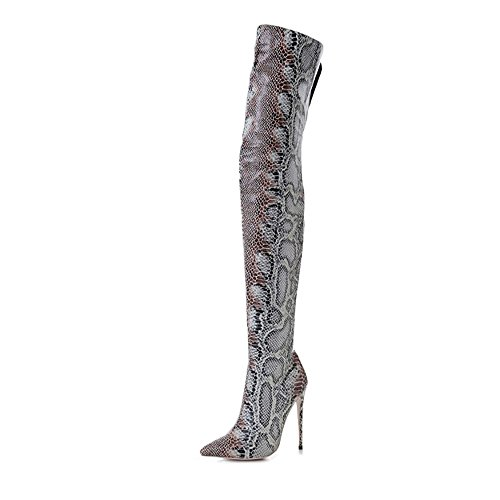 Themost Above The Knee Boots Snake Print Zipper Pointy Toe Stiletto Long Thigh High Heels(Grey 13)
