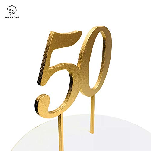 PAPA LONG Design Happy 50th Wood Cake Topper For Birthday Anniversary Retired Party by PAPALONG (Image #1)