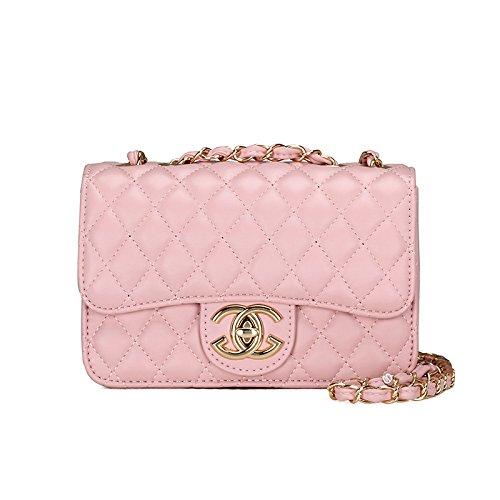 2018 Moda Pequeño Oro Cadena Acolchado Bolsa De Hombro Mini Cuerpo De La Cruz Las Mujeres Bolso Embrague Clásico Bolso De Noche (21 * 14 * 7cm) Pink