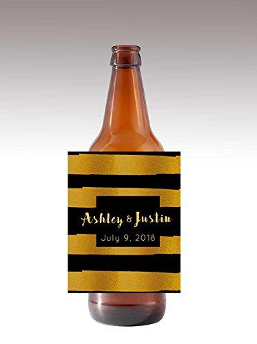 Black Label Beer - 12 Black & Gold Textured Themed Wine / Beer Bottle labels Easy to Use Self Stick Labels