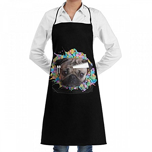 Doug Dachshund - Wodehous Adonis Doug Pug Dog Face Funny Adjustable Bib Kitchen Apron With Pockets For Women Men Chef