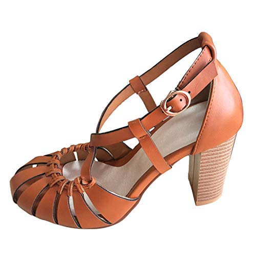 BOLMI Women's Fashion Pumps Shoe Casual Solid High Heel Sandals Heel Hollow Out Party Shoes Sandals Brown ()