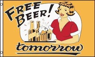Best Free Beer Tommorow Fun Pub Advertising Shop POS 5'x3' Banner Flag