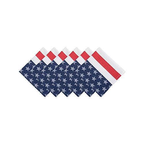 DII CAMZ37419 100% Cotton, Machine Washable, Oversized Basic Everyday 20x20 Napkin Set of 6, Stars & Stripes, Set, 6 Piece