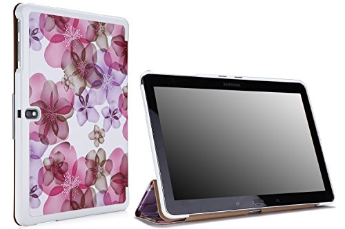 Moko Samsung Galaxy Tab PRO 10.1 Case - Ultra Slim Lightweight Smart-shell Stand Cover Case for Note 10.1 Inch 2014 & TabPro 10.1 Tablet, Floral PURPLE (NOT Fit Tab 4 10.1 & Tab 10.1 & Tab2 10.1)