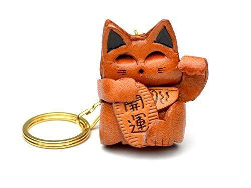 Vanca craft Porte-cl/és avec chat porte-bonheur en cuir de style japonais Collectionnable Fabriqu/é au Japon