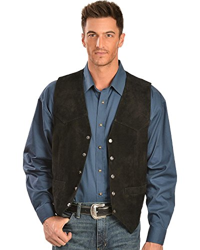 Scully Men's Rugged Calf Suede Vest Black XX-Large (Best Price Mens Vests)