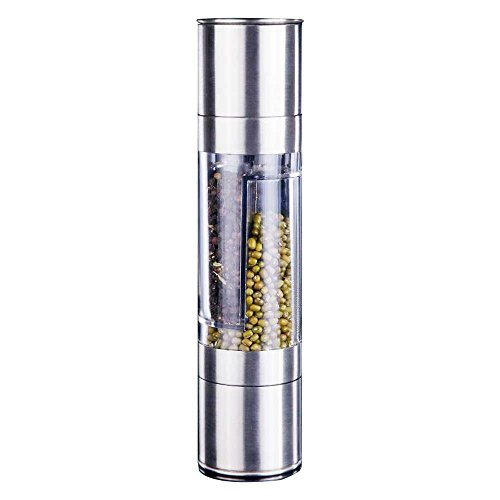2-IN-1 Stainless Double-ended Manual Salt & Pepper Shakers/Mills/Grinder, With Long Lasting Ceramic Grinding Mechanism, Silver