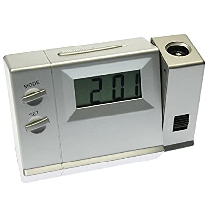 Reloj Despertador Proyector a pilas - Mod.0553 Color plata