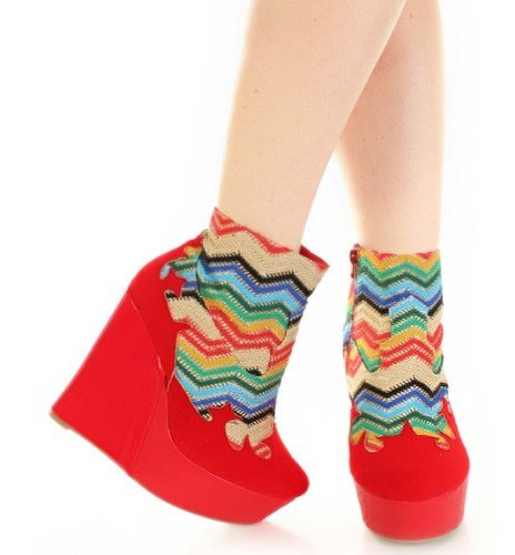 Wedge Zag Faux Red Threaded Multi Suede Booties Zig Shimmer qww1vaU0