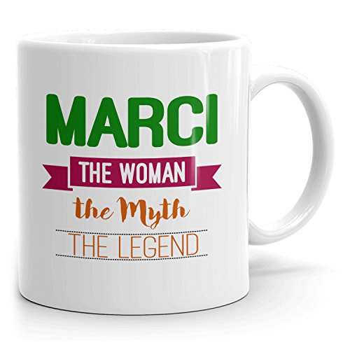 Personalized Marci Mug - The Woman The Myth The Legend - Gifts for Women, Wife, Mom, Girlfriend - 11oz White Mug - Green