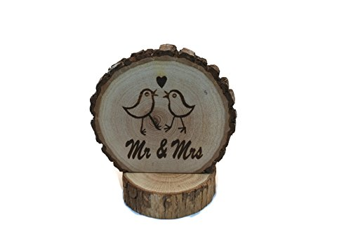 Mr & Mrs Kissing Birds Wedding Cake topper Laser Engraved onto a Wood slice Fall/Winter / Summer forest woodland Weddings