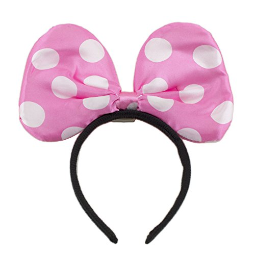 Adorox Red Polka Dot Minnie Mouse LED Headband Light up Bow Princess Costume Party Favor (Light Pink (1 (Minnie Bows Party Favor)