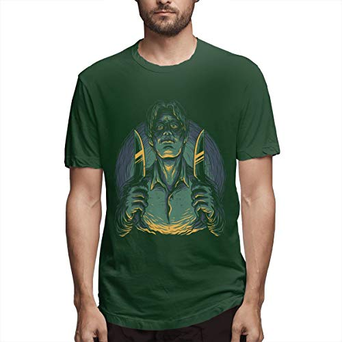 (Syins New Mens Serial Killer Summer 100% Organic Cotton Short Sleeve T-Shirt Forest Green)