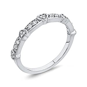 Diamond Fashion Ring in 10K White Gold (1/6 cttw, Colour JK, Clarity I1-I2) (Size-10.75)