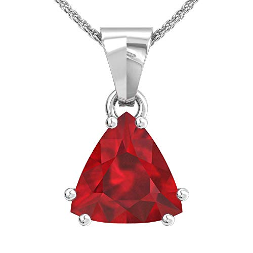 (Solid Sterling Silver 12mm Trillion Cut 3 Carat Lab-Grown Ruby Pendant Necklace with 17.5 inch Anchor Chain)