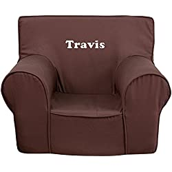 Flash Furniture Personalized Small Solid Brown Kids Club Chair