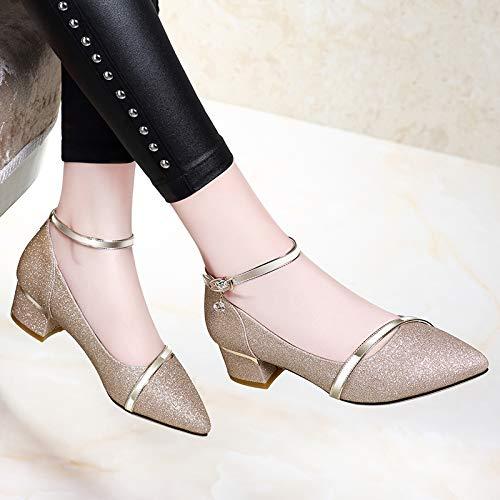 Sandalias Alto Viento Tamaño De Shukun Hadas Golden Verano Para Personalidad Tacón Romanos Gran Palabra Con Zapatos Grueso Mujer Chanclas dvvqr6