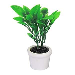 Prettyia 12th Scale Dollhouse Miniature Green Plant in White Pot Garden Patio Yard Scene