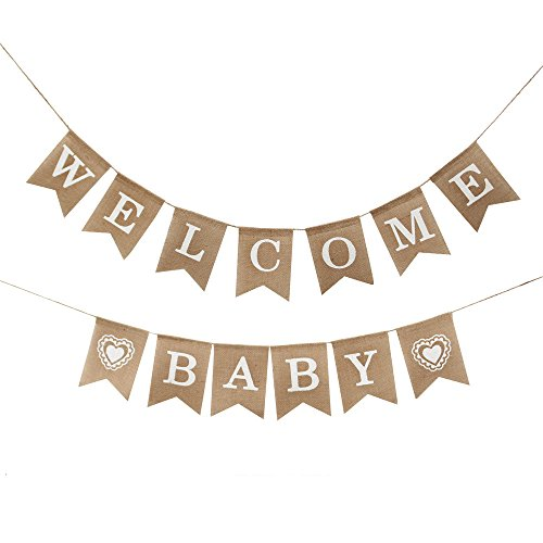 Betalala Welcome Baby Burlap Banner-Vintage Party Decorations -