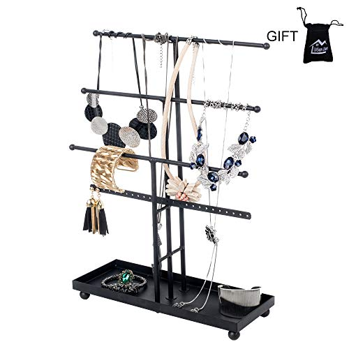 - Necklace Holder 3 Plus 1 Tier Tabletop Jewelry Organizer Jewelry Stand with Ring Tray to Organize Necklaces, Bracelets, Earrings, Rings and Watches, Black