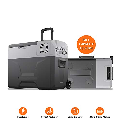 cho Power Sports Portable Freezer Cooler AC/DC Compressor Refrigerator Fridge Trolley Wheels for Truck RV Boat Party Picnic Camping (50 Liter)