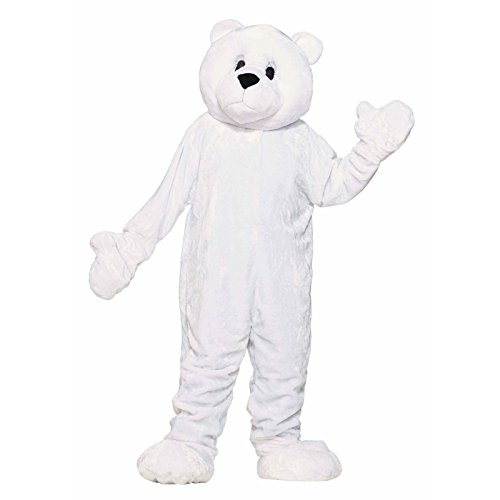 Deluxe White Jumpsuit Costumes (Forum Deluxe Plush Polar Bear Mascot Costume, White, One Size)