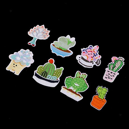 8pcs Cute Succulent Plants Embroidered Iron on Patches for Clothing Sticker