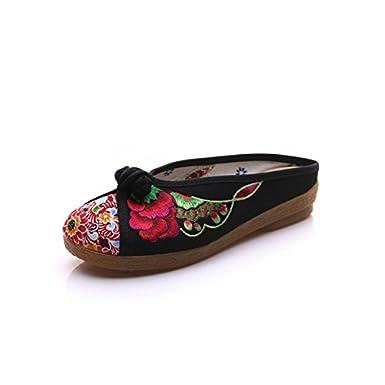Ryrty(TM) Mariposa de Primavera sandalias estilo chino ocasionales respirables Impreso hebilla decorada bordado Zapatilla [Negro - 11]: Amazon.es: Ropa y ...