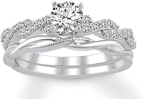 Pritvi jewels 0.75 CT Round Cut Created Diamond Twisted Bridal Ring Set 14k White Gold Finish