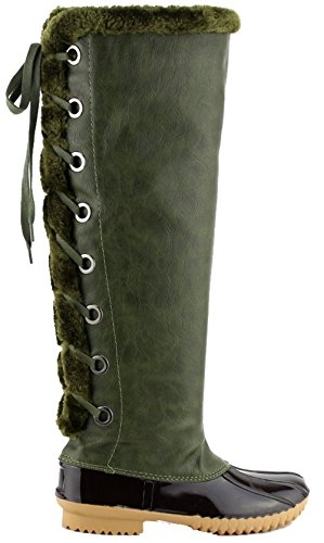 Nature Breeze FF70 Damen Knie High Lace Up isolierte Stiefel halbe Größe klein Olive 15