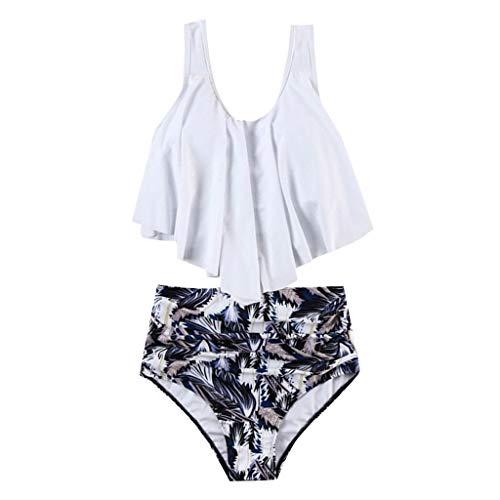 Beachwear Maillot Volants Femme Court De Rembourré Bikini Up Set 2 Taille Push Débardeur Vintage Tanga Pièces Culotte shirt Blanc Haute Roiper T Bain Plage À 8qYfP8