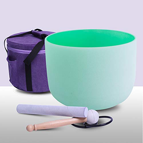Frosted F Note Heart Chakra Green Color Quartz Crystal Singing Bowl 8 inch carrier one rubber mallet and one o-ring included
