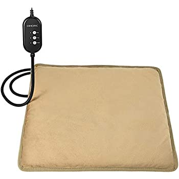 OMORC Pet Heating Pad, 12V Safe Dog Cat Heating Pad with 3 Level Timer & Temperature Settings & 2 Replaceable Cover, Auto Power-Off Thermostats and Anti-Bite Tube, 17