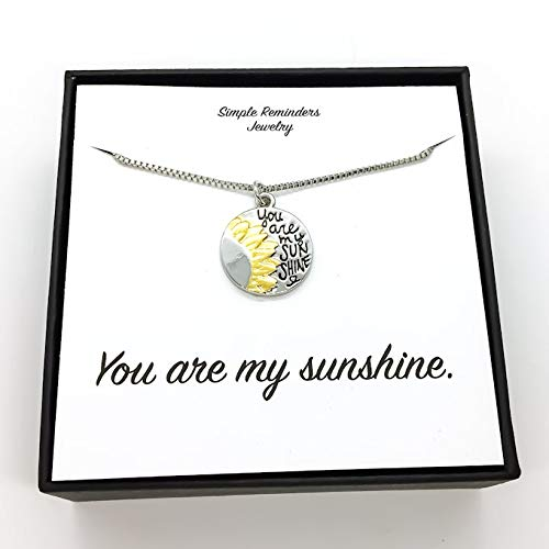 You Are My Sunshine Sunflower Pendant Necklace Message Card Handmade