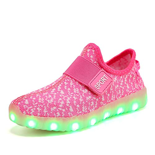 XZSPR Kids Boys Girls Breathable LED Light Up Flashing Sneakers for Children Shoes(Toddler/Little Kid/Big Kid) B1009-Pink-29