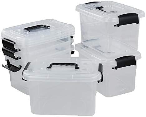 Morcte 6-Pack Plastic Storage Box with Black Handle, 5 L