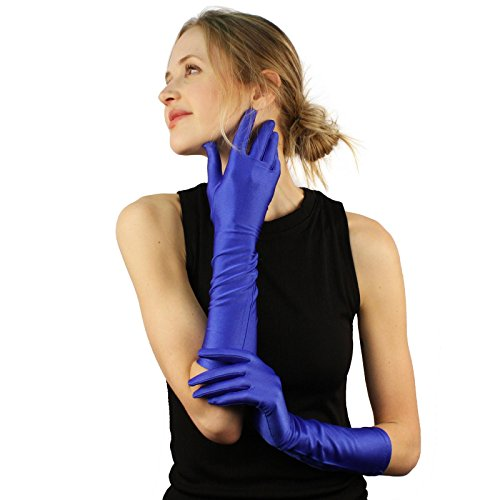 Dressy Elbow Length Satin Gloves - Elegant Satin Matte No Shine Stretchy Dressy Evening Below Elbow Gloves Royal