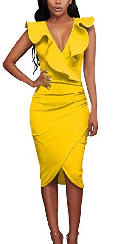 Verano Nuevo Mujeres Moda Cuello V Profundo Sin Mangas Vestido Chic Lado de la Hoja de Lotus Lápiz Vestido Sexy Bodycon Irregular Midi Vestidos de Partido Cóctel Fiesta Amarillo