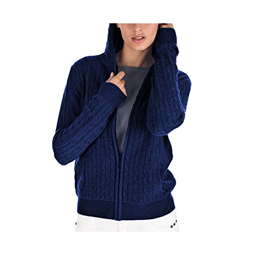 Parisbonbon Women's 100% Cashmere Hooded Cardigan Color Navy Blue Size L