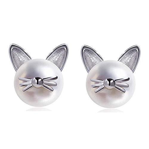 (Meow Star Cat Stud Earrings Sterling Silver Freshwater Pearl Cat Earrings Fashion Cute Earrings for Women Teen Girls)