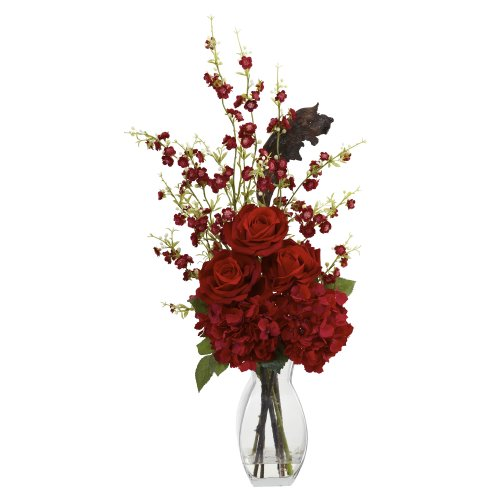 Nearly-Natural-1327-Hydrangea-Cherry-Blossom-and-Rose-Arrangement-Red
