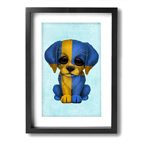 Chen Wen Jie Cute Patriotic Swedish Flag Puppy Dog Modern Giclee Framed Canvas Prints Artwork Paintings On Canvas Wall Art for Home Decorations Wall -