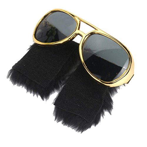 Prettyia Novelty Gold Frame Sunglasses with large Beard 1970s Disco Party Costume