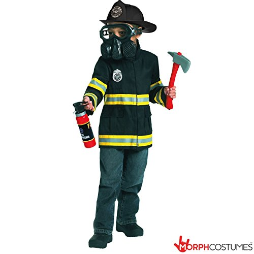 [Boys Fire Fighter Emergency Service Fireman Uniform Fancy Dress Costume] (Emergency Services Fancy Dress Costumes)