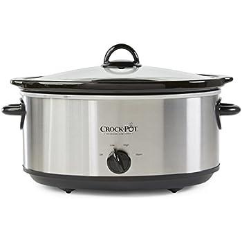 Crock-Pot SCV700SS Stainless Steel 7-Quart Oval Manual Slow Cooker, 7 Quart