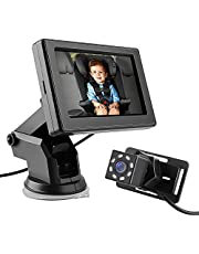 Baby Car Rear Mirror Camera, Back Seat Baby Car Camera with HD Night Vision Function 4.3' HD Car Mirror Display, Reusable Sucker Bracket, Wide View, 360 Rotating Camera, Easily Observe the Baby's Move