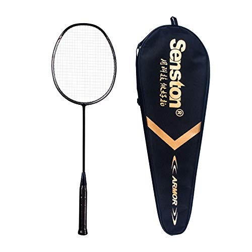 Senston Badminton Racket N80 100% Carbon Fiber Badminton Racquet Black with Racket Cover