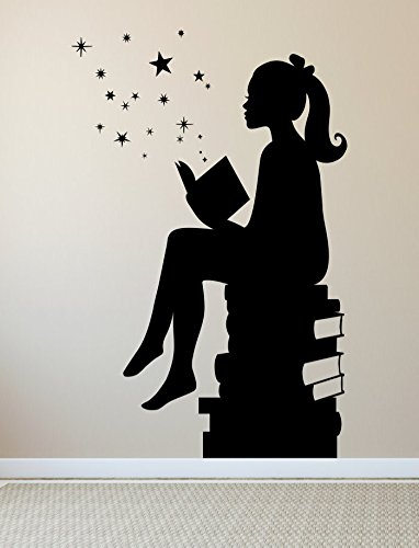 Girl Reading Books Magic - Facing Left, Small, Black - Vinyl Wall Art Decal for Homes, Offices, Kids Rooms, Nurseries, Schools, High Schools, Colleges, Universities